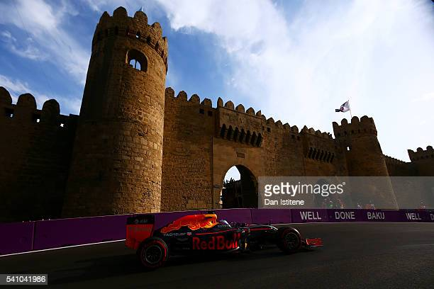 Daniel Ricciardo of Australia drives the Red Bull Racing Red Bull-TAG Heuer RB12 TAG Heuer during qualifying for the European Formula One Grand Prix...