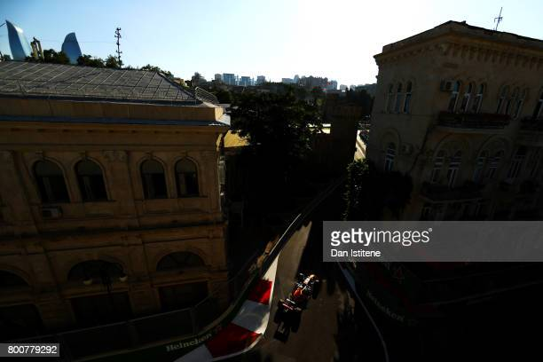 Daniel Ricciardo of Australia drives the Red Bull Racing Red BullTAG Heuer RB13 TAG Heuer during the Azerbaijan Formula One Grand Prix at Baku City...