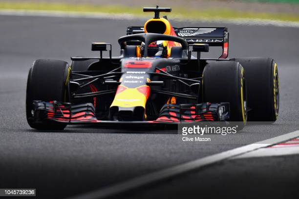 Daniel Ricciardo of Australia driving the Aston Martin Red Bull Racing RB14 TAG Heuer on track during practice for the Formula One Grand Prix of...