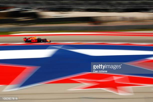 Daniel Ricciardo of Australia driving the Aston Martin Red Bull Racing RB14 TAG Heuer during final practice for the United States Formula One Grand...