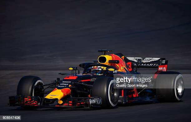 Daniel Ricciardo of Australia driving the Aston Martin Red Bull Racing RB14 TAG Heuer during day two of F1 Winter Testing at Circuit de Catalunya on...