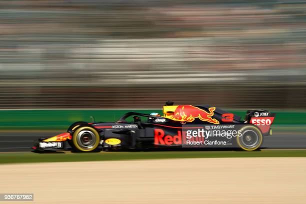 Daniel Ricciardo of Australia driving the Aston Martin Red Bull Racing RB14 TAG Heuer on track during practice for the Australian Formula One Grand...