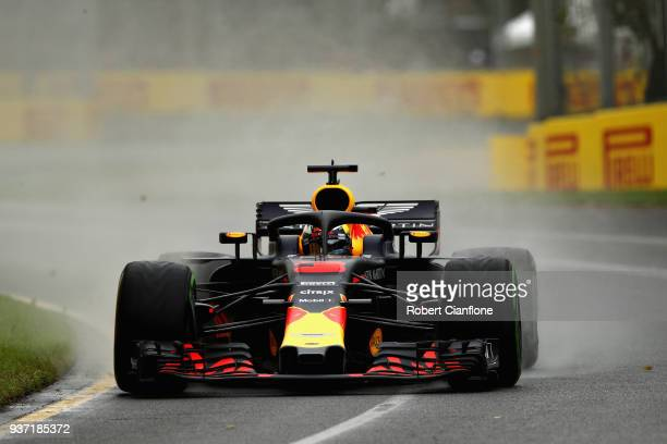 Daniel Ricciardo of Australia driving the Aston Martin Red Bull Racing RB14 TAG Heuer on track during final practice for the Australian Formula One...