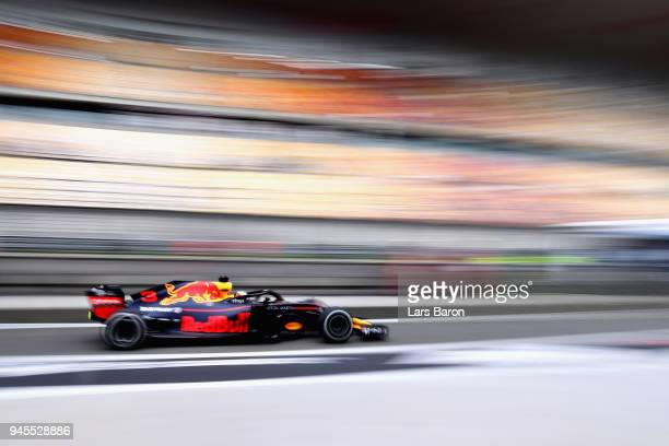 Daniel Ricciardo of Australia driving the Aston Martin Red Bull Racing RB14 TAG Heuer in the Pitlane during practice for the Formula One Grand Prix...