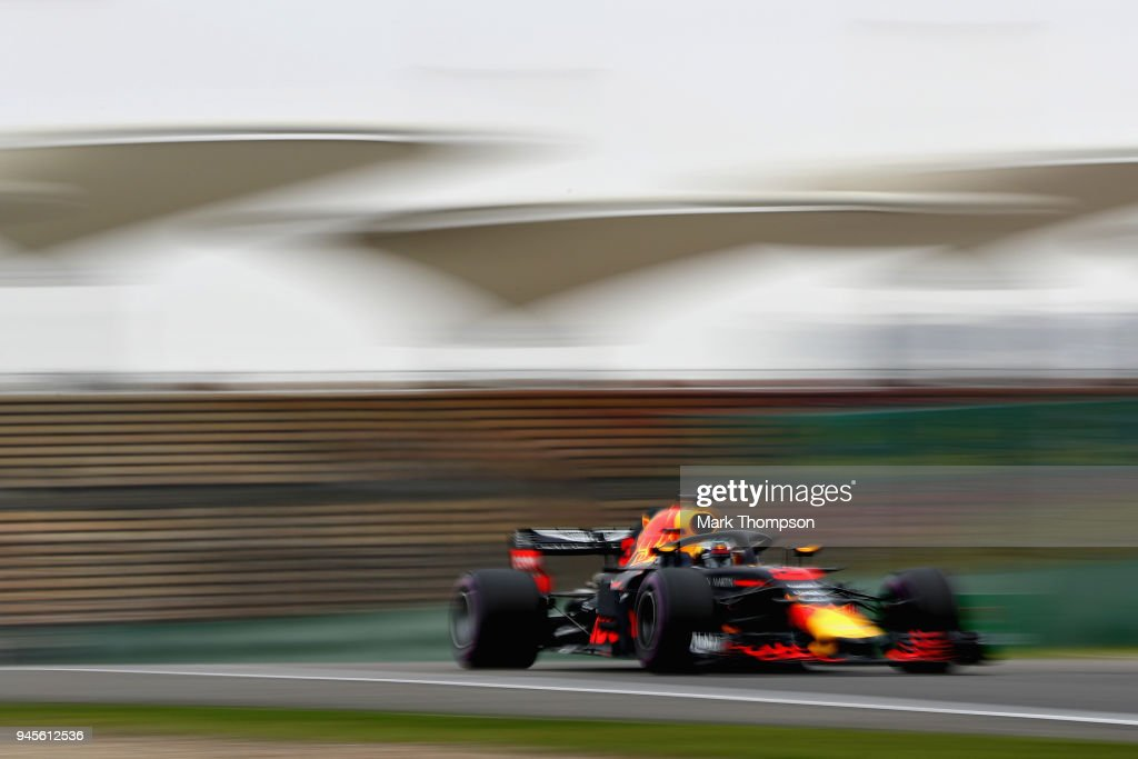 Daniel Ricciardo of Australia driving the (3) Aston Martin Red Bull Racing RB14 TAG Heuer on track during practice for the Formula One Grand Prix of China at Shanghai International Circuit on April 13, 2018 in Shanghai, China.