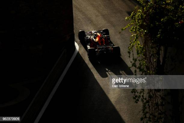 Daniel Ricciardo of Australia driving the Aston Martin Red Bull Racing RB14 TAG Heuer on track during qualifying for the Azerbaijan Formula One Grand...