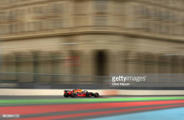 Daniel Ricciardo of Australia driving the Aston Martin Red Bull Racing RB14 TAG Heuer on track during the Azerbaijan Formula One Grand Prix at Baku...