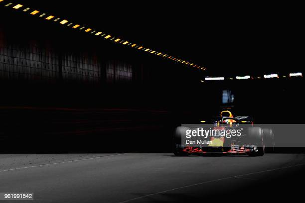 Daniel Ricciardo of Australia driving the Aston Martin Red Bull Racing RB14 TAG Heuer on track during practice for the Monaco Formula One Grand Prix...