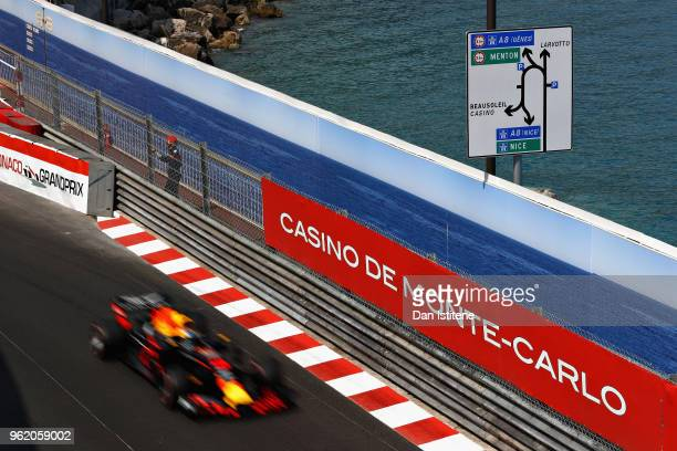Daniel Ricciardo of Australia driving the Aston Martin Red Bull Racing RB14 TAG Heuer on track during practice for the Monaco Formula One Grand Prix...