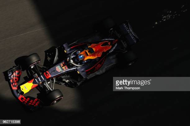 Daniel Ricciardo of Australia driving the Aston Martin Red Bull Racing RB14 TAG Heuer on track during qualifying for the Monaco Formula One Grand...
