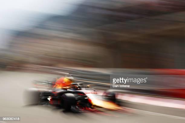 Daniel Ricciardo of Australia driving the Aston Martin Red Bull Racing RB14 TAG Heuer on track during the Monaco Formula One Grand Prix at Circuit de...