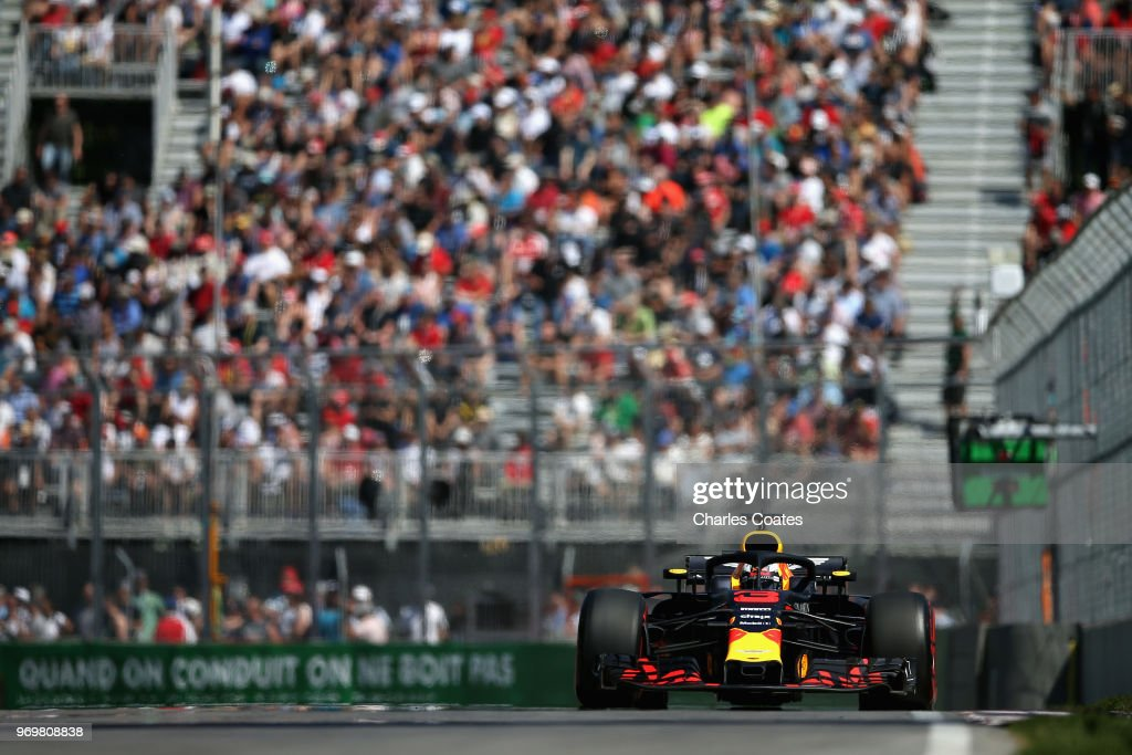 Daniel Ricciardo of Australia driving the (3) Aston Martin Red Bull Racing RB14 TAG Heuer on track during practice for the Canadian Formula One Grand Prix at Circuit Gilles Villeneuve on June 8, 2018 in Montreal, Canada.