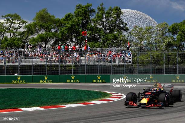 Daniel Ricciardo of Australia driving the Aston Martin Red Bull Racing RB14 TAG Heuer on track during final practice for the Canadian Formula One...