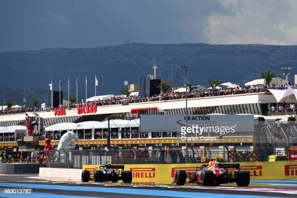 Daniel Ricciardo of Australia driving the Aston Martin Red Bull Racing RB14 TAG Heuer on track during the Formula One Grand Prix of France at Circuit...