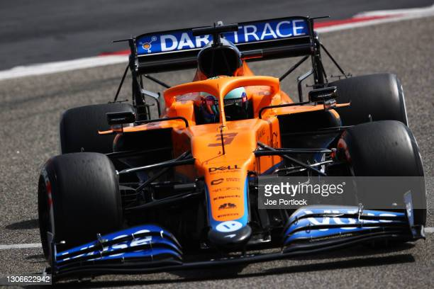 Daniel Ricciardo of Australia driving the McLaren F1 Team MCL35M Mercedes on track during Day One of F1 Testing at Bahrain International Circuit on...