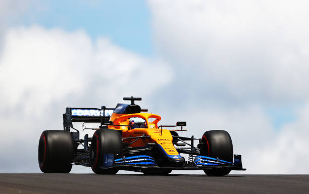 Daniel Ricciardo of Australia driving the McLaren F1 Team MCL35M Mercedes on track during final practice for the F1 Grand Prix of Portugal at...