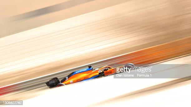 Daniel Ricciardo of Australia driving the McLaren F1 Team MCL35M Mercedes during Day Two of F1 Testing at Bahrain International Circuit on March 13,...