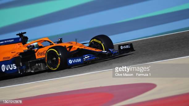 Daniel Ricciardo of Australia driving the McLaren F1 Team MCL35M Mercedes during Day Three of F1 Testing at Bahrain International Circuit on March...