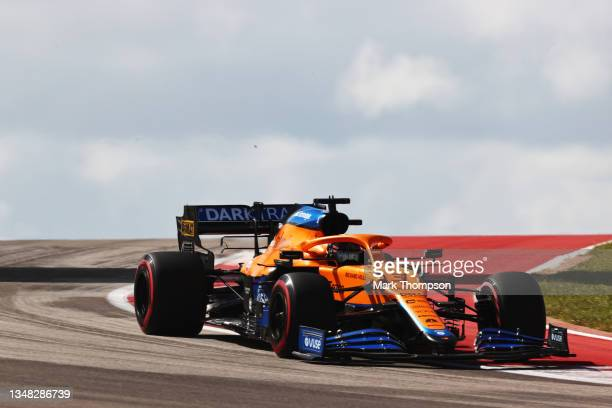 Daniel Ricciardo of Australia driving the McLaren F1 Team MCL35M Mercedes during final practice ahead of the F1 Grand Prix of USA at Circuit of The...