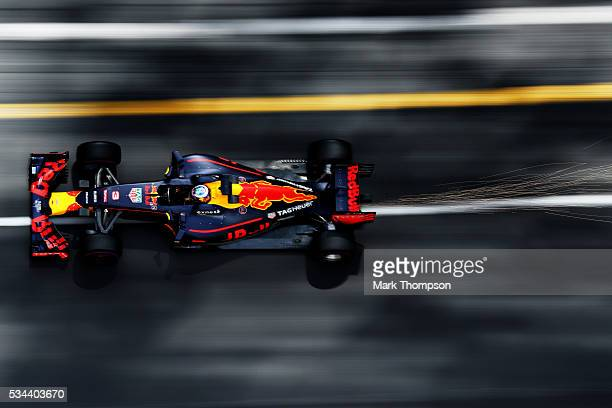 Daniel Ricciardo of Australia driving the Red Bull Racing Red BullTAG Heuer RB12 TAG Heuer on track during practice for the Monaco Formula One Grand...