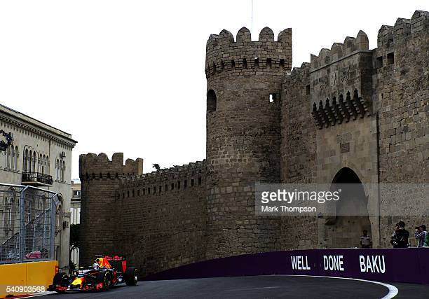Daniel Ricciardo of Australia driving the Red Bull Racing Red BullTAG Heuer RB12 TAG Heuer on track during practice for the European Formula One...