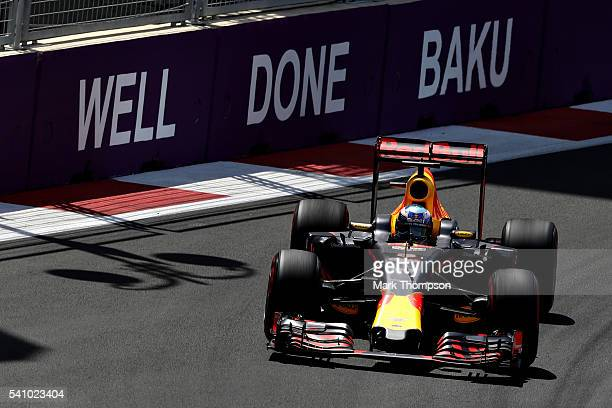 Daniel Ricciardo of Australia driving the Red Bull Racing Red BullTAG Heuer RB12 TAG Heuer on trackduring final practice before the European Formula...