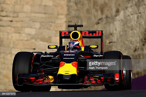 Daniel Ricciardo of Australia driving the Red Bull Racing Red BullTAG Heuer RB12 TAG Heuer on track during qualifying for the European Formula One...