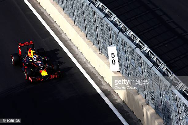 Daniel Ricciardo of Australia driving the Red Bull Racing Red Bull-TAG Heuer RB12 TAG Heuer on track during qualifying for the European Formula One...