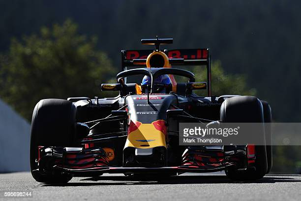 Daniel Ricciardo of Australia driving the Red Bull Racing Red BullTAG Heuer RB12 TAG Heuer fitted with the halo on track during practice for the...