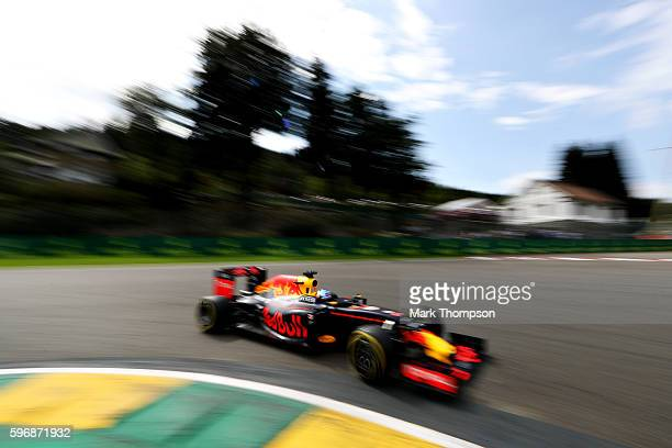 Daniel Ricciardo of Australia driving the Red Bull Racing Red BullTAG Heuer RB12 TAG Heuer on track during the Formula One Grand Prix of Belgium at...