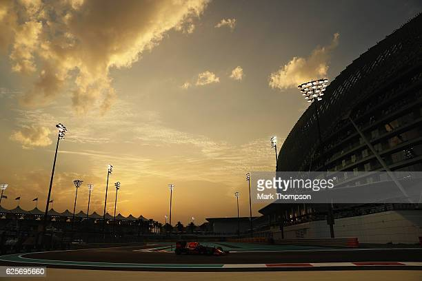 Daniel Ricciardo of Australia driving the Red Bull Racing Red BullTAG Heuer RB12 TAG Heuer on track during practice for the Abu Dhabi Formula One...