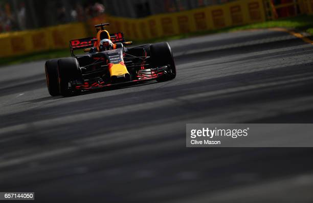 Daniel Ricciardo of Australia driving the Red Bull Racing Red BullTAG Heuer RB13 TAG Heuer on track during practice for the Australian Formula One...
