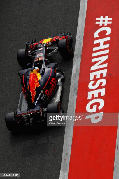 Daniel Ricciardo of Australia driving the Red Bull Racing Red BullTAG Heuer RB13 TAG Heuer in the Pitlane during qualifying for the Formula One Grand...