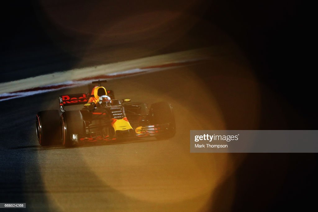 Daniel Ricciardo of Australia driving the (3) Red Bull Racing Red Bull-TAG Heuer RB13 TAG Heuer on track during practice for the Bahrain Formula One Grand Prix at Bahrain International Circuit on April 14, 2017 in Bahrain, Bahrain.