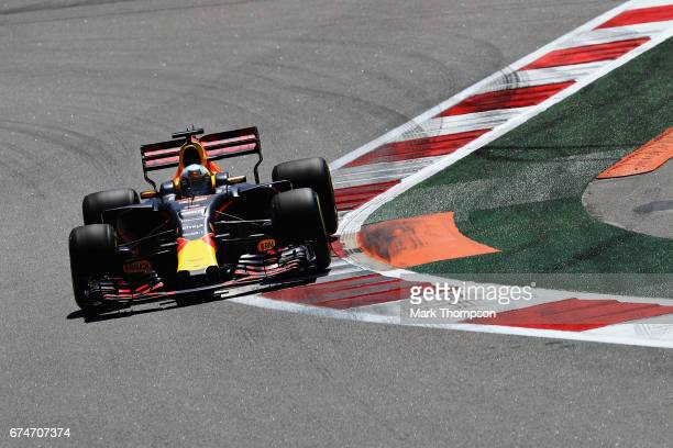 Daniel Ricciardo of Australia driving the Red Bull Racing Red Bull-TAG Heuer RB13 TAG Heuer on track during final practice for the Formula One Grand...