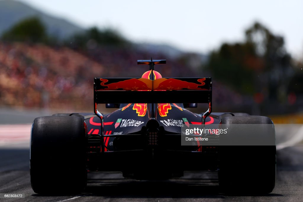 Daniel Ricciardo of Australia driving the (3) Red Bull Racing Red Bull-TAG Heuer RB13 TAG Heuer leaves the pits during practice for the Spanish Formula One Grand Prix at Circuit de Catalunya on May 12, 2017 in Montmelo, Spain.