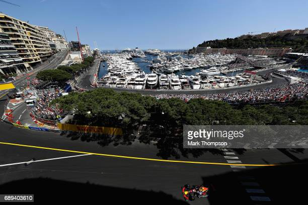 Daniel Ricciardo of Australia driving the Red Bull Racing Red Bull-TAG Heuer RB13 TAG Heuer on track during the Monaco Formula One Grand Prix at...