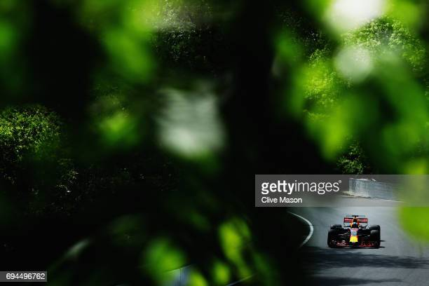 Daniel Ricciardo of Australia driving the Red Bull Racing Red BullTAG Heuer RB13 TAG Heuer on track during final practice for the Canadian Formula...