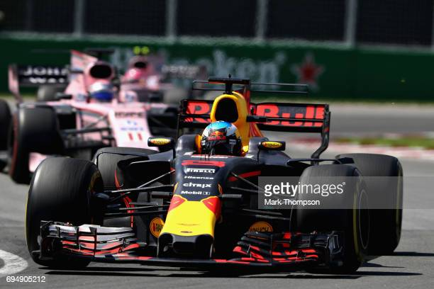 Daniel Ricciardo of Australia driving the Red Bull Racing Red BullTAG Heuer RB13 TAG Heuer on track during the Canadian Formula One Grand Prix at...