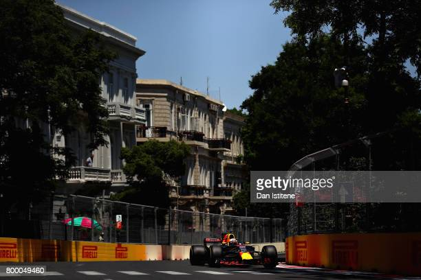 Daniel Ricciardo of Australia driving the Red Bull Racing Red BullTAG Heuer RB13 TAG Heuer on track during practice for the European Formula One...