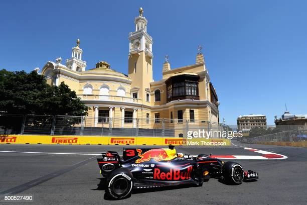 Daniel Ricciardo of Australia driving the Red Bull Racing Red BullTAG Heuer RB13 TAG Heuer on track during final practice for the Azerbaijan Formula...