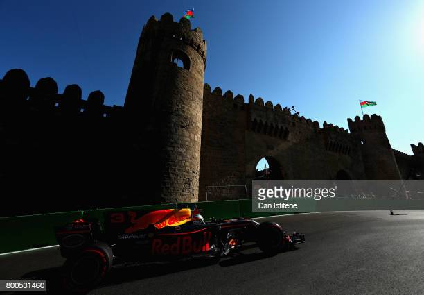 Daniel Ricciardo of Australia driving the Red Bull Racing Red BullTAG Heuer RB13 TAG Heuer on track during qualifying for the Azerbaijan Formula One...