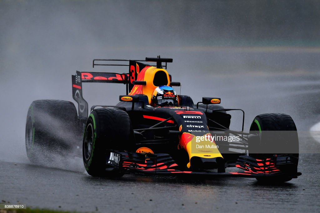 Daniel Ricciardo of Australia driving the (3) Red Bull Racing Red Bull-TAG Heuer RB13 TAG Heuer on track during practice for the Formula One Grand Prix of Belgium at Circuit de Spa-Francorchamps on August 25, 2017 in Spa, Belgium.