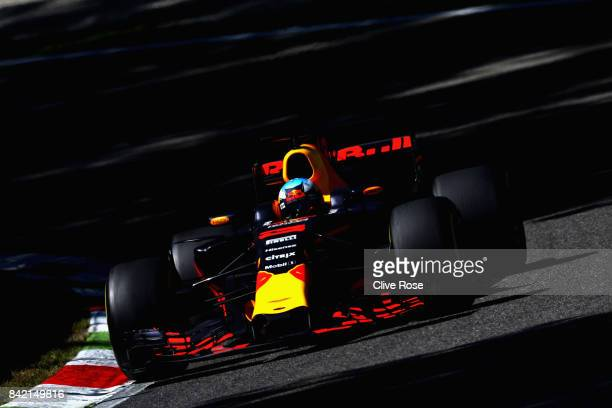 Daniel Ricciardo of Australia driving the Red Bull Racing Red BullTAG Heuer RB13 TAG Heuer on track during the Formula One Grand Prix of Italy at...