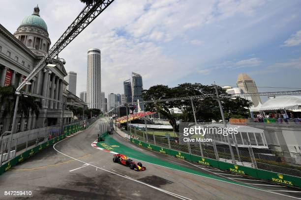 Daniel Ricciardo of Australia driving the Red Bull Racing Red BullTAG Heuer RB13 TAG Heuer fitted with the halo on track during practice for the...