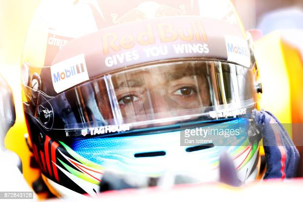 Daniel Ricciardo of Australia driving the Red Bull Racing Red BullTAG Heuer RB13 TAG Heuer prepares to drive in the garage during final practice for...