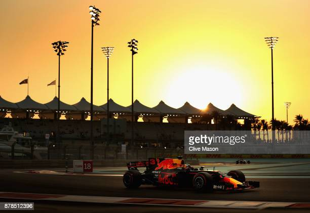 Daniel Ricciardo of Australia driving the Red Bull Racing Red BullTAG Heuer RB13 TAG Heuer on track during practice for the Abu Dhabi Formula One...