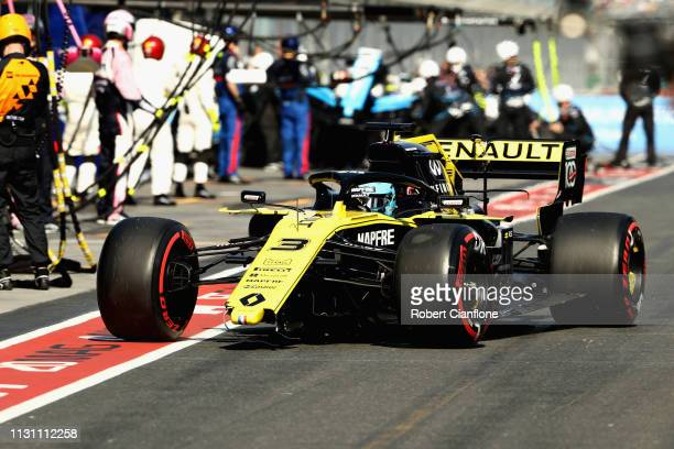Daniel Ricciardo of Australia driving the Renault Sport Formula One Team RS19 comes into the pits to replace a broken front wing during the F1 Grand...