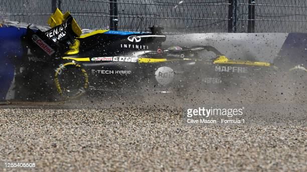 Daniel Ricciardo of Australia driving the Renault Sport Formula One Team RS20 crashes during practice for the F1 Grand Prix of Styria at Red Bull...
