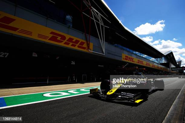 Daniel Ricciardo of Australia driving the Renault Sport Formula One Team RS20 in the Pitlane during qualifying for the F1 Grand Prix of Great Britain...